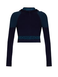 Laain Emma Hooded Cropped Performance Top Navy Multi