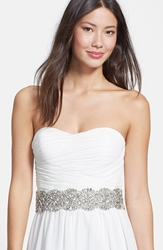 Nina 'Ginger Dramatic' Crystal Belt Ivory Satin