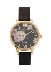 Olivia Burton Flower Show Gold Plated Watch Black