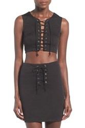 Missguided Lace Up Cropped Tank Black