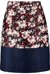 Mother Of Pearl Clarence Printed Cotton And Silk Blend Skirt Red