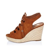 River Island Womens Brown Slingback Gladiator Wedges