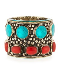 Turquoise And Coral Brass Cuff Bracelet Devon Leigh