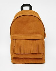 Asos Alpha Backpack In Tan With Fringing Tan