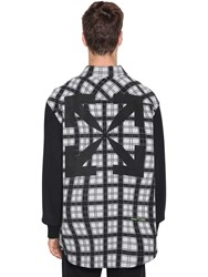 Off White Over Contrast Sleeve Check Cotton Shirt White
