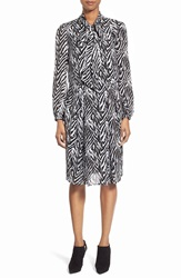 Pink Tartan Tie Neck Zebra Print Shirtdress Black White