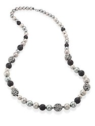 Alexis Bittar Crystal Encrusted Mosaic Lace Long Faux Pearl Strand Grey Multi