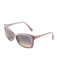Swarovski Crystal Temple Square Sunglasses Pink