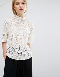 Sams E And Sams E Samsoe Samsoe Becks Short Sleeve Lace Top White