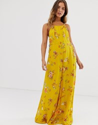 Free People Georgia Floral Jumpsuit Yellow