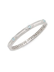 Judith Ripka Romance Sky Blue Crystal And White Sapphire Bangle Bracelet Silver