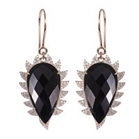 Meghna Jewels Claw Drop Earrings Black Onyx And Diamonds Black Rose Gold