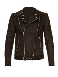 Balmain Biker Brushed Cotton Jacket Black