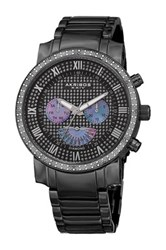 Akribos Xxiv Men's Swiss Quartz Multi Function Diamond Bracelet Watch 0.06 Ctw Black