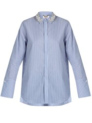 Muveil Embellished Collar Cotton Shirt Blue