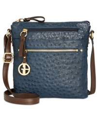 Giani Bernini Ostrich Printed Crossbody Created For Macy's Navy