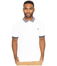 Fred Perry Chequerboard Collar Pique Shirt White Men's Clothing