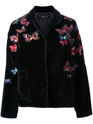 Michel Klein Floral Embroidery Bomber Jacket Black