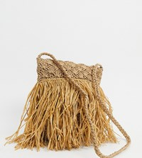 South Beach Exclusive Straw Cross Body Bag With Fraying Beige