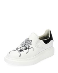 Alexander Mcqueen Etched Griffin And Unicorn Leather Slip On Platform Sneaker White Black White Black