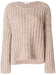 Valentino Chunky Knit Jumper Nude And Neutrals