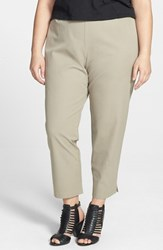 Eileen Fisher Plus Size Women's Stretch Organic Cotton Ankle Pants Stone