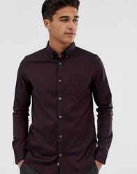 Burton Menswear Oxford Shirt In Burgundy Red