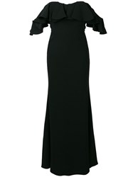 Alexander Mcqueen Dropped Sleeves Evening Dress Black