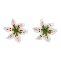 Dolce And Gabbana White Lily Clip Earrings