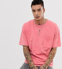 Heart And Dagger Relaxed Fit Acid Wash T Shirt In Pink