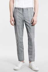 Topman Skinny Fit Plaid Suit Trousers Gray