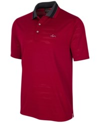 Greg Norman For Tasso Elba Men's Jacquard Mesh Polo Only At Macy's Bright Cri