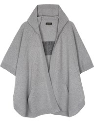 Burberry Carla Logo Wool And Cashmere Cape Mid Grey