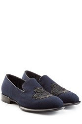 Alexander Mcqueen Loafers With Embellished Motif Blue