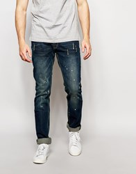 Bellfield Slim Fit Jeans With Paint Splash Blue