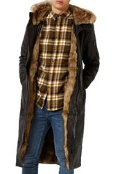 Topman Men's Longline Parka With Faux Fur Lining