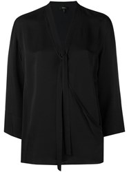 Theory Relaxed Wrap Blouse Black