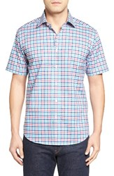 Bugatchi Men's Shaped Fit Check Short Sleeve Sport Shirt