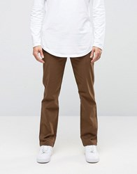 Asos Straight Trousers With Button Fly In Dark Brown Turkish Coffee
