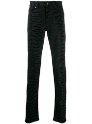 Saint Laurent Zebra Printed Skinny Jeans Black