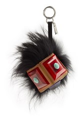 Fendi Geny Bag Bug Monster Key Chain With Silver Fox And Leather Multicolor