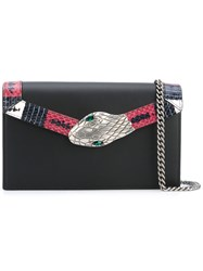 Gucci Snake Embellished Clutch Women Calf Leather One Size Black