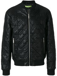 Versace Jeans Quilted Effect Bomber Jacket Polyester Viscose Xxxl Black