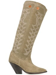 Isabel Marant Thigh High Cowboy Boots Women Leather Suede 39 Nude Neutrals