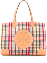 Tory Burch Ella Plaid Tote Red