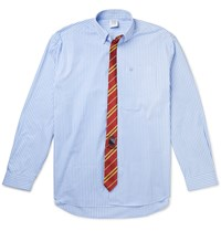 Vetements Oversized Tie Trimmed Striped Cotton Shirt Blue