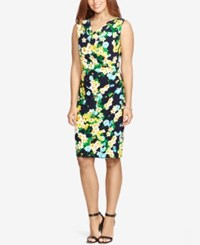American Living Floral Print Cowl Neck Dress Navy Yellow