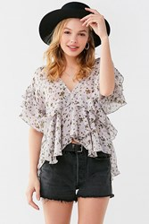 Urban Outfitters Uo Plunging V Neck Ruffle Top Lilac