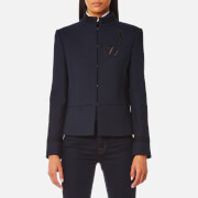Karl Lagerfeld Women's Military Jacket With Patches Peacoat Blue