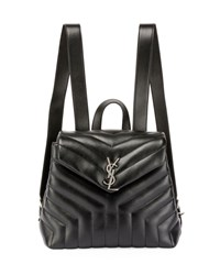 Saint Laurent Monogram Ysl Loulou Small Y Quilted Leather Backpack Black
